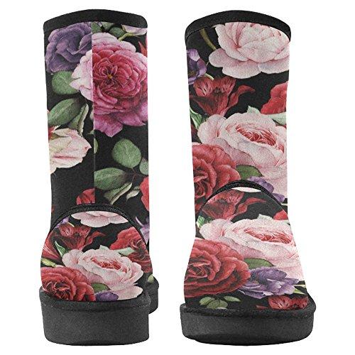 Snow Snow Da Donna Interesse Design Unico Comfort Invernale Stivali Acquerello Rose Multi 1