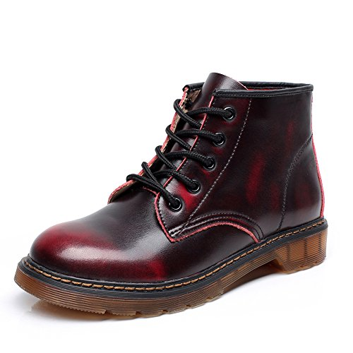 High Combat Lace Up Motorcycle Leather Boots 748(Burgundy,US7.5) ()