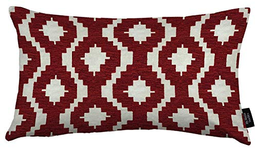 McAlister Textiles Arizona Filled Pillow Red Chevron Aztec Geometric Decorative Throw Scatter Sofa Cushion Sham Size – 12 x 20 Inches