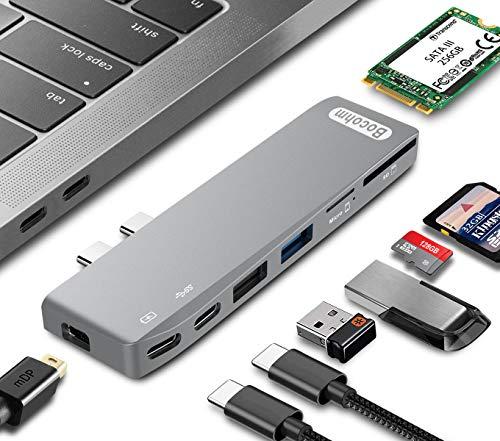 Iii Hub - USB C Hub Adapter, Bocohm Type C Thunderbolt 3 Hub for MacBook Pro 2016/2017/2018 with 100W Power Delivery, 5K HD Mini DisplayPort, USB3.0, SD/MicroSD Card Reader, NGFF M.2 SATA III SSD 8 in 1