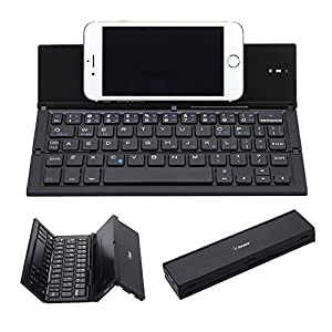 Folding Keyboard, Geyes Portable Ultra-thin Wireless BT Keyboard Aluminum Alloy with Kickstand Universal for iPhone 7 / iPhone 7 Plus / Windows / iOS / Mac / Android Tablet / Smartphone (Black)