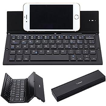Folding Keyboard, Geyes Portable Ultra-thin Wireless BT Keyboard Aluminum Alloy with Kickstand Universal for iPhone 7 / iPhone 7 Plus / Windows / iOS / Mac ...