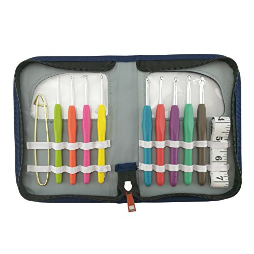 LAYOER Crochet Needle Hooks Sets 9pc 2mm-6mm TPR Ergonomic Handle Tape Measure Ruler Zipper Case