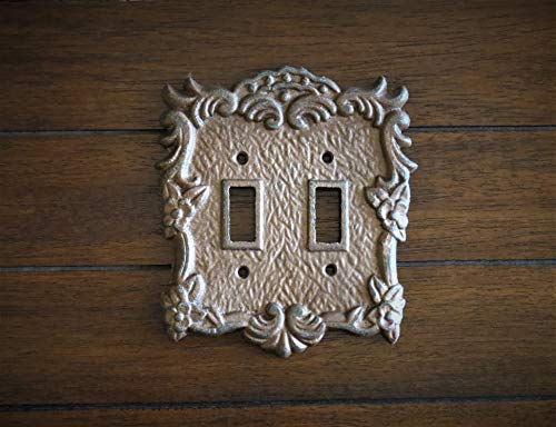 Double Light Switchplate Copper or Pick Your Color Shabby Cottage Chic Style Metal Cast -