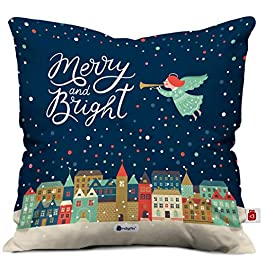 Indigifts Merry & Bright Print Blue Cushion Cover 12×12 with Filler (Xmas, Him, Boy, Girl, Dad, Mom, Friends, Family) – Christmas Decorations