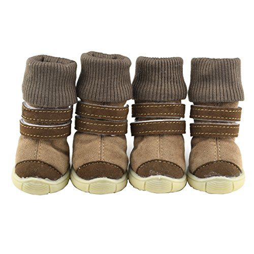 (Pawant Puppy Snow High Boots Leather Shoes Sneakers Warm Footwear Camel)