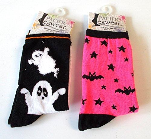 halloween-socks-ghost-black-hot-pink-bat-girls-9-3-nwt-by-shopko