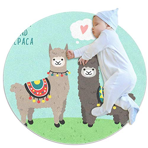 Llama and Alpaca in Love Standing On Green Grass