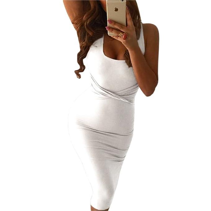 Keluosaiii Summer Women Dress Scoop Collar Sleeveless O-Neck Sexy Mini Dress Clubwear Party Sheath