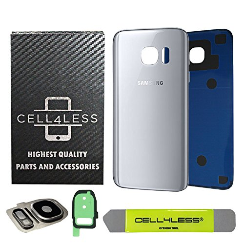 CELL4LESS Compatible Back Glass Cover Back Battery Door w/Custom Removal Tool & Installed Adhesive Replacement for Samsung Galaxy S7 - All Models G930-2 Logo - OEM Replacement (Silver Titanium)