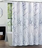 Tahari Home Luxurious Fabric Shower Curtain- Sprigs -72' X 72' Blue & Silver on White
