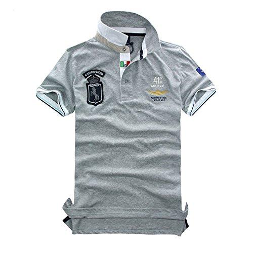 メンズ ポロシャツ 半袖 Tシャツカジュアル 紳士ポーツゴルフ シャツおしゃれ 2018人気 部屋着 吸汗速乾4カラー (グレー, L)