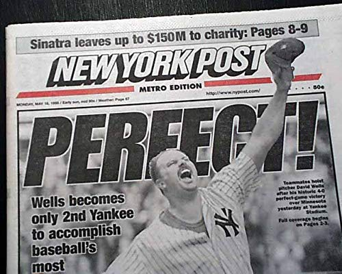(Best DAVID WELLS New York Yankees Yanks Pitches PERFECT GAME 1998 NYC Newspaper NEW YORK POST, May 18, 1998)