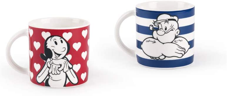 roja y Azul Porcelana Excelsa popeye /& Olivia juego de 2/tazas de caf/é