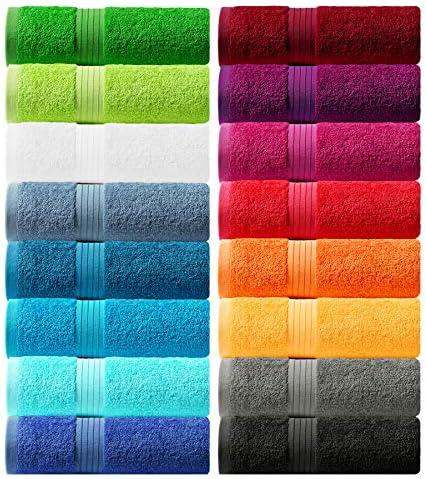 Lashuma serviettes de toilette bleu aigue-marine Linz serviettes de bain 50x100 cm 2 essuie main coton s/érie