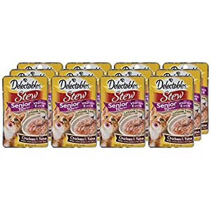 Delectables Stew Senior 10 Years+ Lickable Wet Cat Treats - Chicken & Tuna - 12 Pack