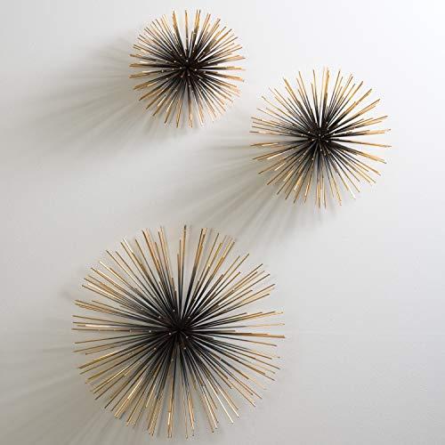 Global Views MidCentury Modern Atomic Age Wall Sculpture Set 3 | Bronze Boom Spike Minimalist