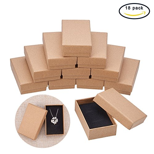 BENECREAT 18 Pack Small Size Kraft Rectangle Cardboard Jewelry Boxes for Jewelry Set, 3.26 by 2 by 0.86-Inch, Brown