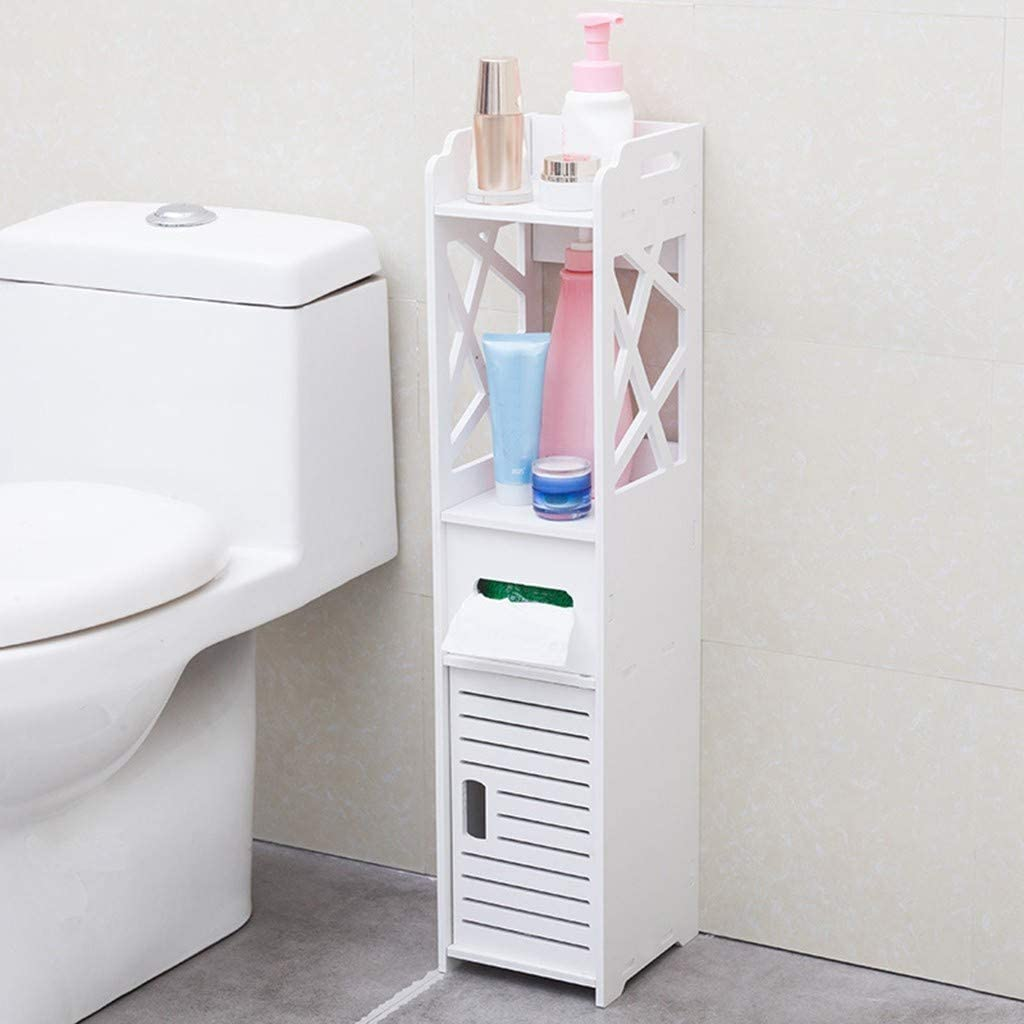 Small Bathroom Storage Corner Floor Cabinet With Doors And Shelves Thin Toilet Vanity Cabinet Narrow Bath Sink Organizer Towel Storage Shelf For Paper Holder White Kitchen Dining