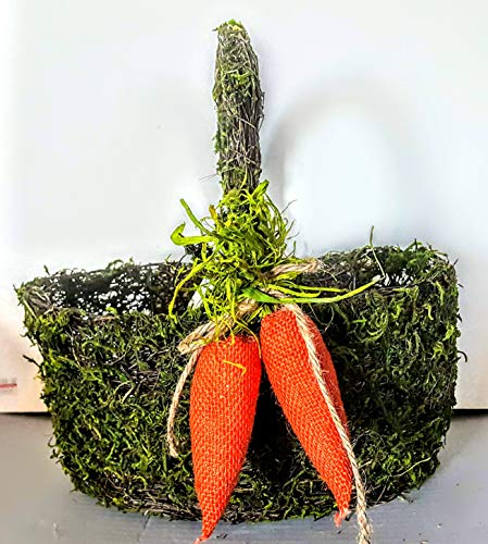 Natural Mossy Twigs Woven o Wire Basket with 2 Burlap Carrots on Handle (MSRP $30) APX. 12in. x 11in x 13in.