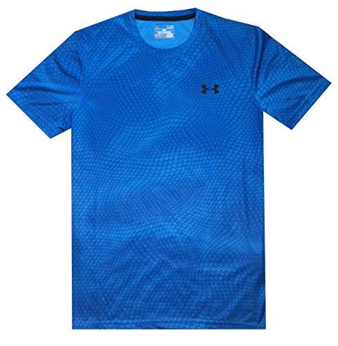 Under Armour Men UA Tech Velocity Print T-Shirt (L, Blue Jet)