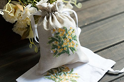 Vintage Rainy Linen Sachet Bags Drawstring Ribbon Embroidered Yellow Daisy Pouch 5