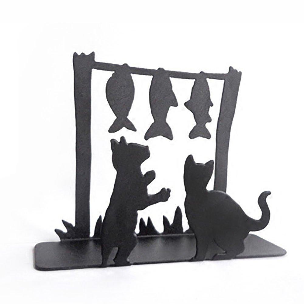 Iron Art Storage/Holder/ Shelf for Tissue/Napkin/ Paper Towel/Notebook/ Document/CD/ Envelope, Creative Kitten Fish Drama …