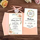 OUOK 100pcs Wedding Invitations Blue Pocket Burgundy Greeting Cards with Envelope Customized Party with Ribbon and Tag,Pink,Customized Printed