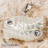 Fishes Pisces Mother of Pearl Pendant with Zircon Crystals Handmade Nazareth