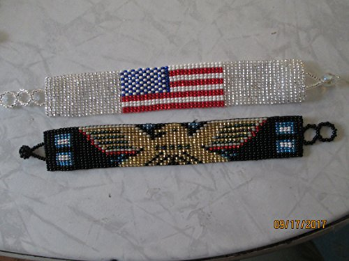 lot of 2 bracelets Hand beaded beadwork glass seed beads guatemalan southwest designs ethnic black gold eagle bird native american flag patriotic bracelet