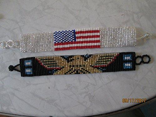 (lot of 2 bracelets Hand beaded beadwork glass seed beads guatemalan southwest designs ethnic black gold eagle bird native american flag patriotic bracelet)