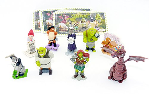 Shrek 4 - 2010 Complete Set of 9 Figures - Magic Kinder Surprise Figures from Germany- Ferrero DreamWorks with one Paper -