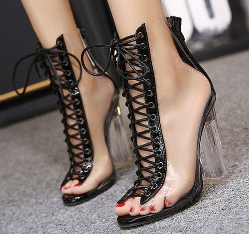 YCMDM donne Peep Toe Pumps tacco alto di cristallo spessi sandali tacco a set da tavola impermeabile Ufficio Shoes Filati Scarpette Scarpe , black , 35