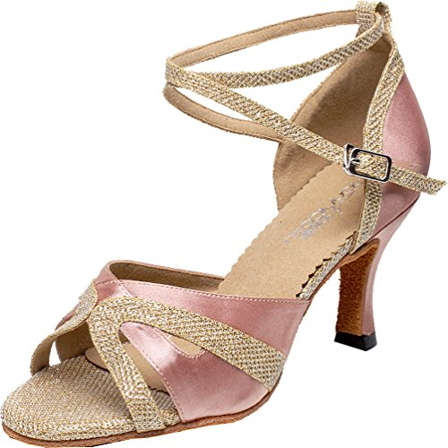 Salabobo AQQ-6194 Womens Wedding Party Tango Peep Toe Customize Heel Silk Satin Dance Shoes Pink 4lauEbW