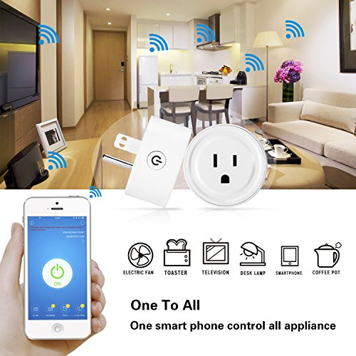 Wifi Smart Plug Mini Socket Outlet Power Switch Works With Amazon Alex Google Home Remote Control By App No Hub Required Time Fuction(2 Packs) by mingjin (Image #1)