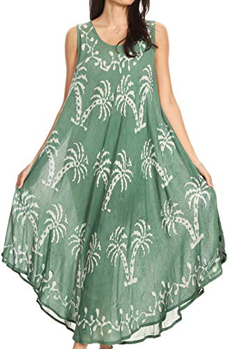 Sakkas 19254 - Irene Women's Casual Tie-dye Maxi Summer Sleeveless Loose Fit Tank Dress - 19250-Green - OS
