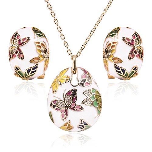 Olsen Twins Colorful Enamel Gold Butterfly Pendant Necklace Earrings Bangle Bracelet Jewelry Sets