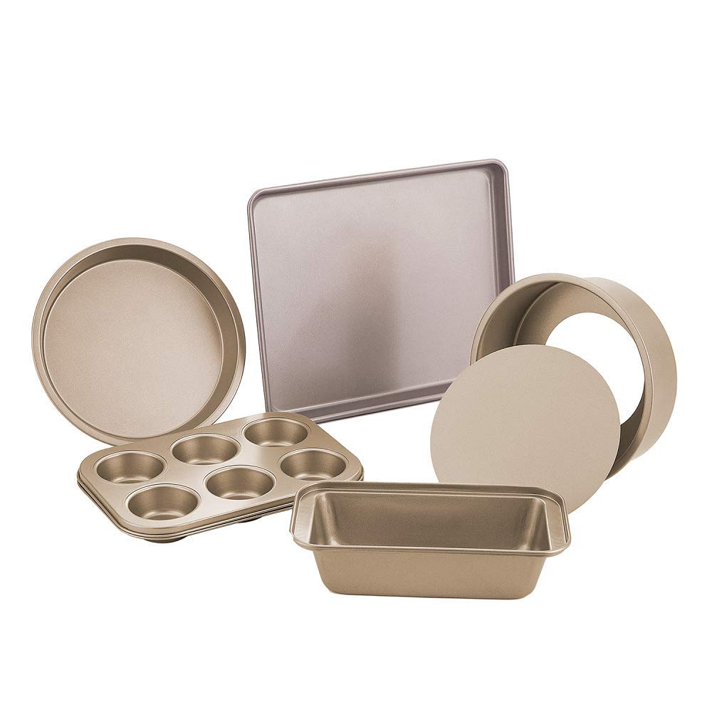 E-Gtong Nonstick Bakeware Set, 6-Piece Toaster Oven Baking Pan Set with Nonstick Coating, Includes Large Baking Sheet, Round Baking Pan, Loaf Pan, Round Cake Pan, 6-Cup Mini Muffin Pans-Easy to Clean
