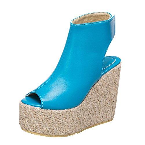 Mee Shoes Women's Chic Platform Wedge High Heel Sandals Blue LJ4ACZH
