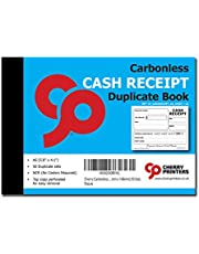 Cherry Carbonless Money Receipt Duplicate Book, with Loose-Leaf Writing Shield, A6 (105mm x 148mm) 50 Sets, Unnumbered