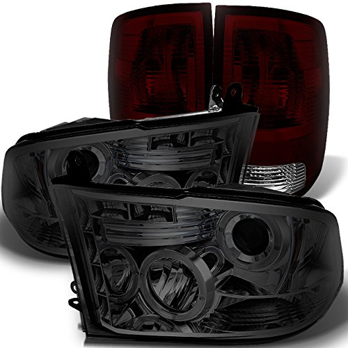 For Dodge Ram 2009-2018 1500 | 10-18 2500/3500 Smoked Halo Projector LED Headlights + Dark Red Tail Light Combo ()