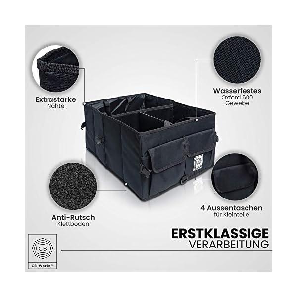 51is87fgXbL CB-WORKS Kofferraum Organizer Faltbare Auto Tasche, rutschfest mit Klett & extra Spanngurte, Zubehör Aufbewahrung…