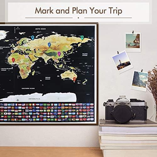 Weltkarte zum Rubbeln Scratch Off World Map Poster English 82 x 59 cm Weiß