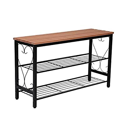 STRUGGLE Metal Shoe Bench with Seating, 2-Tier Shoe Rack for Entryway Hallway, Shoe Organizer, Black Frame with Walnut Top - Features 2-tier of shoe storage ,4-way opening design,fits up to 3 pairs of shoes per tier (6 total) depending on size. Multi-Use: A combination of shoe rack and bench to help you saving space.It's suitable to be placed in the hall, living room, bed room, balcony,etc. Made of Solid wood seat cover on black metal frame, sturdy and durable, easy to clean and maintain. - entryway-furniture-decor, entryway-laundry-room, benches - 51is8f5UKeL. SS400  -