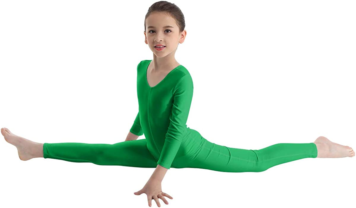 ranrann Girls Ballet Dance Gymnastic Unitard Bodysuit Footless Full Length Seamless Dancewear Stretchy Jumpsuit Active