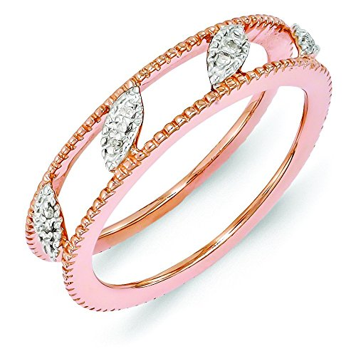 4.75mm Sterling Silver Polished Prong set Stackable Expressions Rose Gold-Flashed Diamond Jacket Ring - Size 9