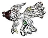 Sterling over Pewter Fish Pin Brooch C43 Clear Green CZ Large