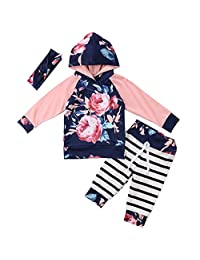 Annvivi Baby Girls Floral Hoodie Striped Leggings Pant with Headband 3 Piece Outfits