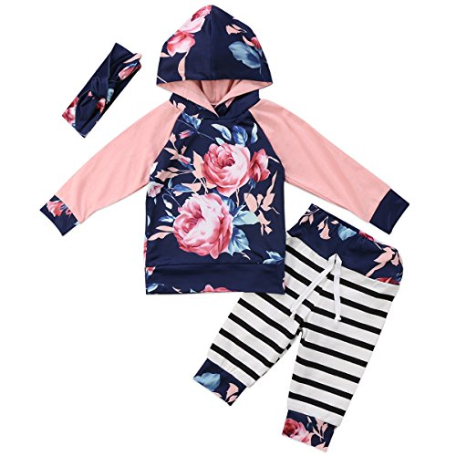 Annvivi Baby Girls Floral Hoodie Striped Leggings Pant with Headband 3 Piece Outfits (Pink, 0-6 Months)
