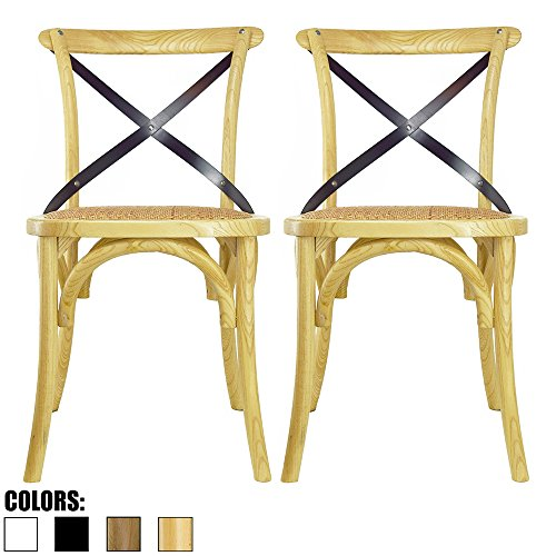 2xhome Set of 2 Natural Mid Century Modern Farmhouse Antique Cross Back Chair with X Back Assembled Solid Real Wooden Frame Antique Style Dining Chair Side for Accent Chairs Woven Kitchen Task Work